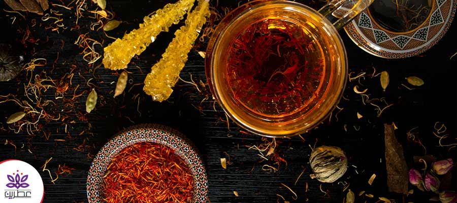 چای طعم دار خانگی با عطر زعفران