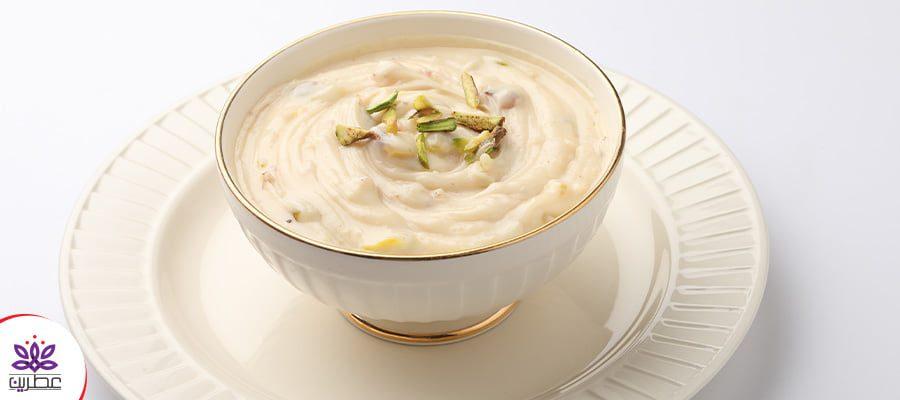 طرز تهیه فرنی زعفرانی با آرد برنج و شیر
